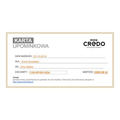 Wirtualna karta upominkowa o wartości 3000 zł